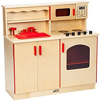 Amazon Com Ecr4kids Birch Pretend Play 4 In 1 Kitchen