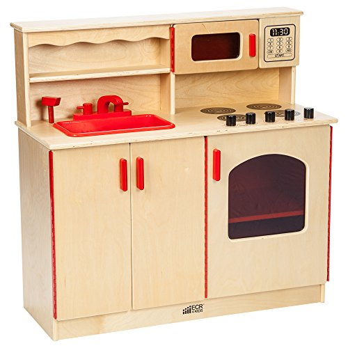 - ECR4Kids Birch Pretend Play 4-in-1 Kitchen Playset for Daycare, Natural
