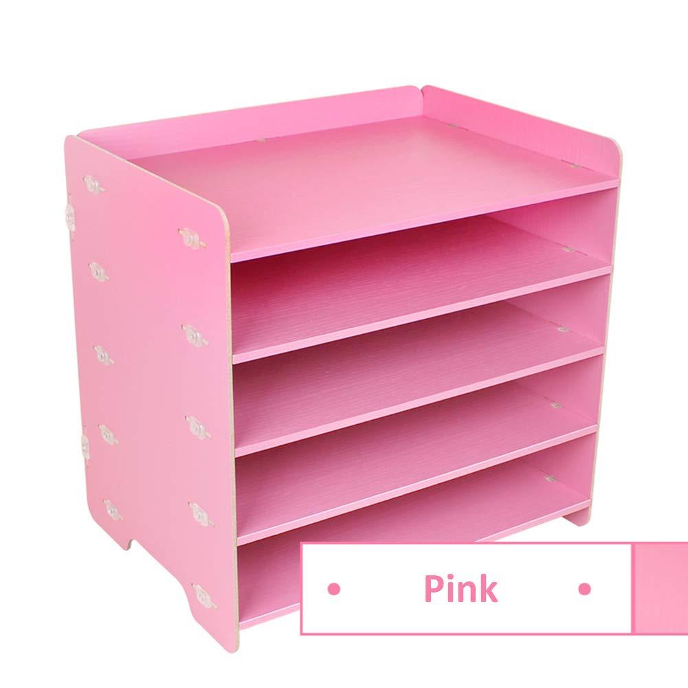 Heatleper 5 Tier Wooden A4 File Folder Rack Paper Document Magazine Holder, Wooden Desktop Office Document Tray Holder Desk Organizer for Office School Home (Pink)