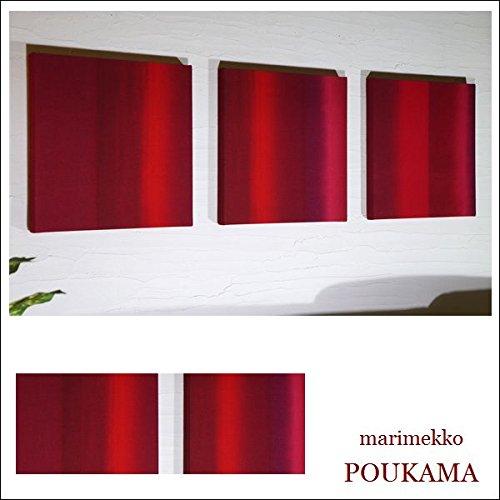 送料無料 ファブリックパネル アリス marimekko POUKAMA 30×30×2.5cm 3枚セット レッド 赤 マリメッコ シンプルインテリア ファブリックパネル 同梱可 B0773K9PQV