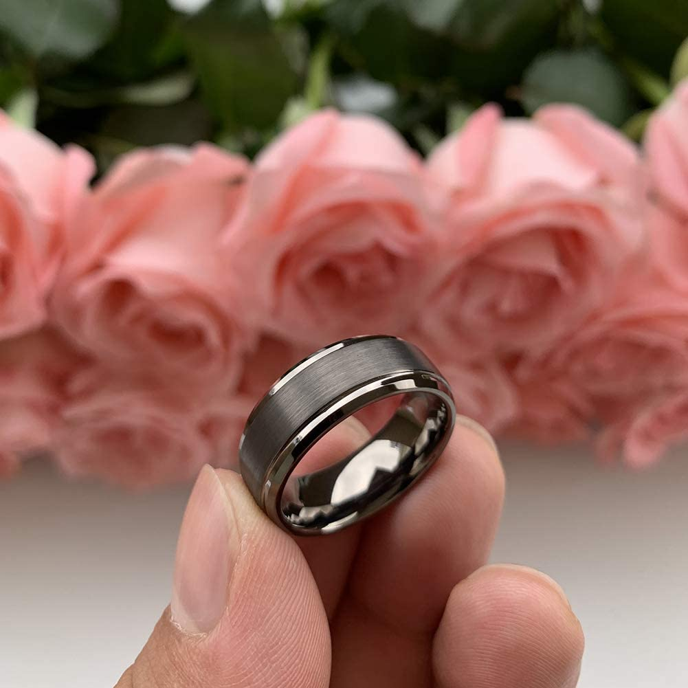 iTungsten 6mm 8mm Rose Gold//Gunmetal Tungsten Rings for Men Women Wedding Bands Stepped Beveled Edges Matte Finish Comfort Fit