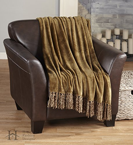 Raya Collection Ultra Velvet Plush Super Soft Blanket in Solid Colors. Lightweight, Warm Throw Blanket with Decorative Fringe. By Home Fashion Designs Brand. (Mocha)