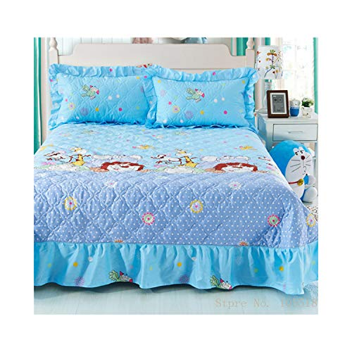 paasionous Home Textile Bedspread Winter Quilted Ruffles Pillowcase 100% Cotton Quilted Bedskirt Luxury Flower Bed Cover,Lion Bedding,Queen