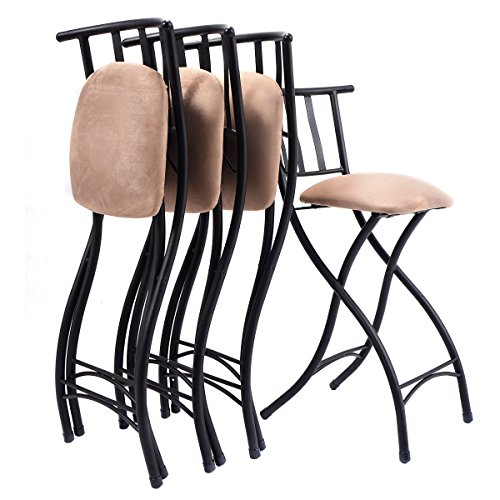 Costway Set Of 4 Folding Bar Stools Counter Height Bistro