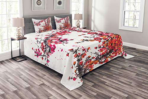 Lunarable Japanese Coverlet Set Queen Size, Japanese Cherry Blossoms in Watercolor Brush Style Eastern Vibrant Oriental Art, Decorative Quilted 3 Piece Bedspread Set with 2 Pillow Shams, Red Orange