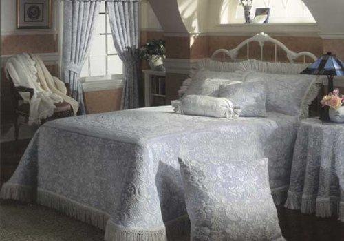 Queen Elizabeth Matelasse Bedspread - King - Wedgewood Blue