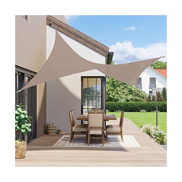 51O5Bc3y6aL SONGMICS Sonnensegel 2 x 3 m, wasserfest bis mindestens 1000 mm Wassersäule, 93% UV-Schutz, Sonnenschutz aus reißfestem…