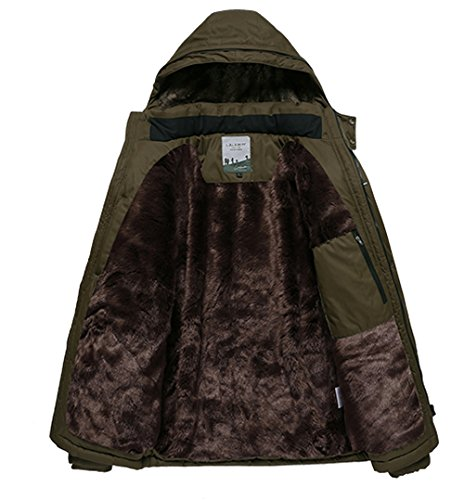 JYG Men's Winter Thicken Casual Field Jacket With Removable Hood (US XL, Brown)