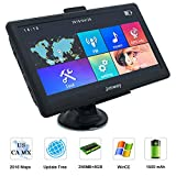 Navigation Systems for Car/Truck, Jimwey 8GB 256MB GPS Navigation for Car, Capacitive Touch Screen Pre-Loaded US/CA/MX 2018 Maps, POI Search, Speed Camera Alerts, Lifetime Free Map Updates (7 inch)
