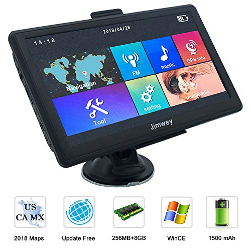 Navigation Systems for Car/Truck, Jimwey 8GB 256MB GPS Navigation for Car, Capacitive Touch Screen Pre-Loaded US/CA/MX 2018 Maps, POI Search, Speed Camera Alerts, Lifetime Free Map Updates (7 inch) by Jimwey