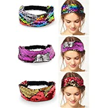 Calary 3 Pack Mermaid Sequin Headbands Reversible Flip Sequins Headband Stretch Elastic Hairband Hair Accessories for Adult & Child