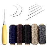 Pingranso 14 Pieces Sewing Needles with Leather Waxed Thread Cord Drilling Awl and Thimble for Leather Repair