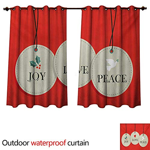(WilliamsDecor Christmas Outdoor Curtains for Patio Sheer Joy Love and Peace Words Pendants Merry Christmas Holiday Celebration Theme W84 x L72(214cm x 183cm))