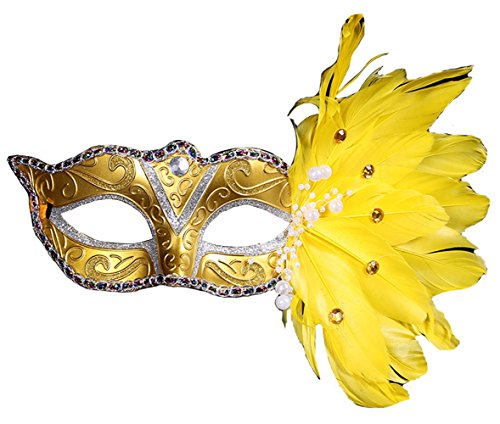 Masquerade Christmas Halloween Plastic Feathers Painted Feather Masks Birthday Party (Golden) ()