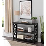 Kings Brand 3-Tier X-Design Console Entryway Sofa Table With Shelves, Black