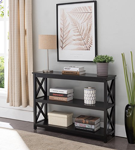 Kings Brand 3-Tier X-Design Console Entryway Sofa Table with Shelves, Black (Best Modern Furniture Brands)