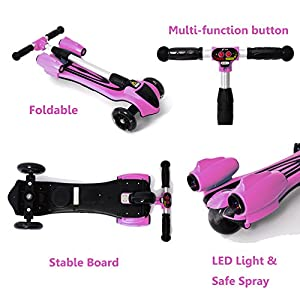 MammyGol Kick Scooters for Kids,Adjustable Handle Folding LED Spray Jet Scooter, 3 wheeled, 110lb Weight Limit, age 3- 8 (Pink)