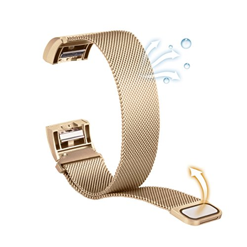 Fitbit Charge 2 Bands, Luxury Milanese Loop Woven Stainless Steel Mesh Closure...