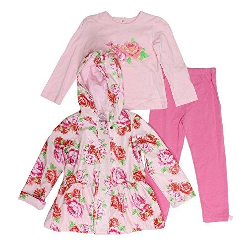 Toddler Jackets Shop - Little Me Baby Girls Pink Floral Rain Jacket with Long Sleeve Top Legging Set (3T)