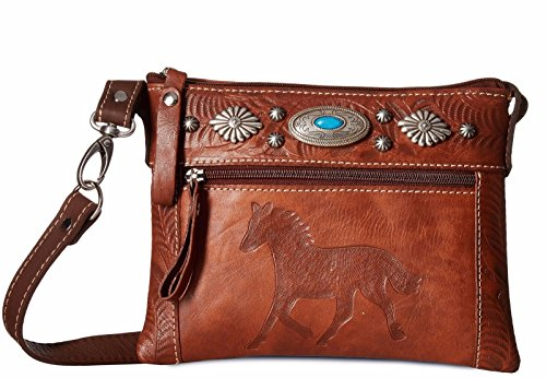 American Handbag Western West (American West Women's Trail Rider Crossbody Bag Brown One Size)