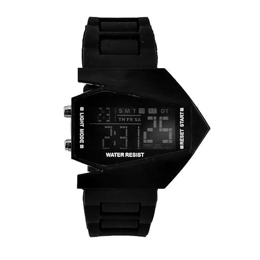 Elegante Reloj Digital con Forma de Avión de Combate en Silicona Negra: Amazon.es: Relojes