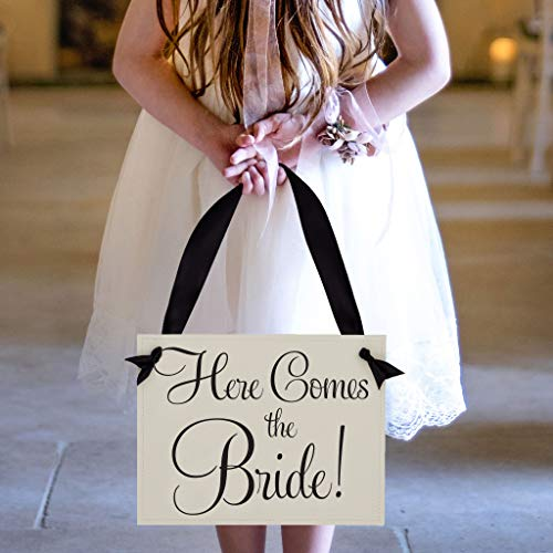 Here Comes The Bride Wedding Sign for Ring Bearer + Flower Girl | Black Ink on Ivory Paper]()