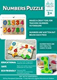 Classic Numbers Wooden Puzzle for Toddlers, Preschool Age w/ Colorful Wood Pieces & Shape Cut-Outs in Board. Simple Educational & Sensory Learning for 1, 2 & 3 Year Olds