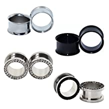 """D&M Jewelry 4 Pairs Stainless Steel 8g-9/16"""" Flare Row Gem Hollow Tunnel Ear Plug Gauge"""