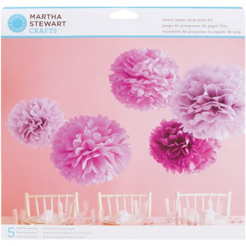 Martha stewart paper tissue paper pom pom kit makes 5 blue 44 20177 mightylinksfo