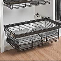 FKhanger Pull Out Storage Drawer Basket,Adjustable Wardrobe Storage Organiser,Telescopic Coat Basket for Kitchen and Wardrobe (42-97cm) (Size : 91.445.627.2cm)