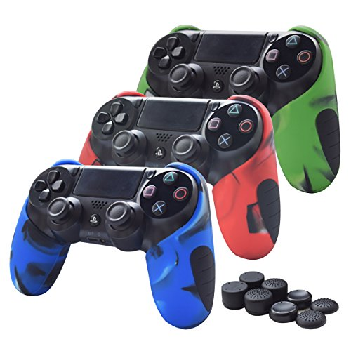 Skin Compatible for PS4 Controller Pandaren Soft Silicone Thicker Half Skin Cover Grip for PS4 /Slim/PRO Controller Set (Skin X 3 + Thumb Grip X 8)(Camouflage Red,Blue,Green)