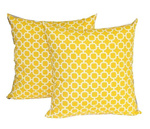 Set of 2 - Indoor / Outdoor 17'' Square Decorative Throw / Toss Pillows - Yellow and White Geometric Hockley