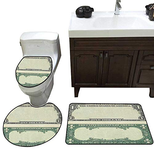 Money Three-Piece Toilet seat One Dollar Bill Buck Design Federal Reserve Note Pattern Wealth Symbol Skidproof Toilet Seat Bathroom Floor Mat Pale Green Grey
