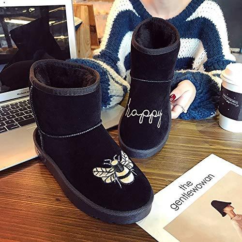 Scarpe Scarpe HCBYJ Donna Cotone Cotone Cotone black e Inverno Tubo Studente Scarpe Antiscivolo da da Scarpette Autunno calde Stivali in Corto in qRAqPwB
