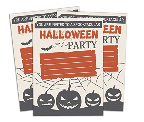 Darling Souvenir Beige Halloween Invitation Card Printable Fill or Write in Blank Invites Party Supplies Pack of 28 ()