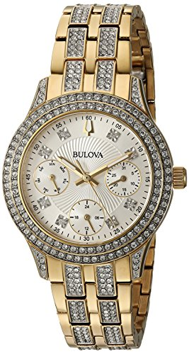 Bulova Women's 'Swarovski Crystal' Quartz and Stainless-Steel Casual Watch, Color Gold-Toned (Model: 98N112)