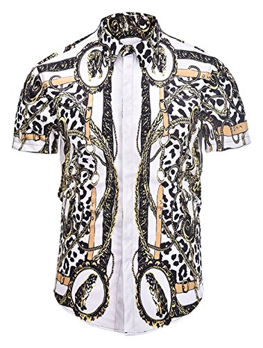 - PIZOFF Mens Luxury Short Sleeve Gold Chain Print Buttond Down Dress Shirt AL003-20-S