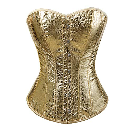 - Grebrafan Sequin Corset, Plus Size Leather Bustier Sparkle Party Showgirl Clubwear (US(8-10) L, Gold)