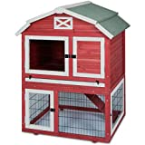 Precision-19120-Old Red Barn Rabbit Hutch 32.7x37.4x49.5-Inch