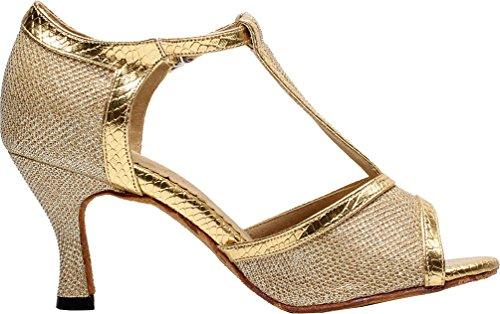 toe Q Dance wedding Gold Party PU 7026 Tango shoes Dance Ballroom Womens Peep Latin Abby 1avRqR