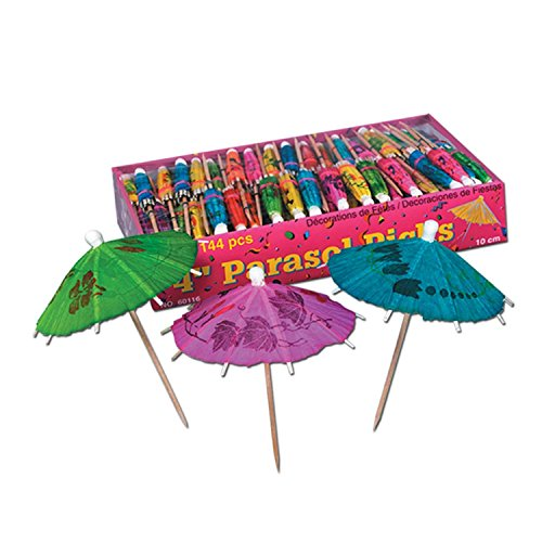 Club Pack of 3,456 Tropical Multi-Colored Parasol Food, Drink or Decoration Party Picks 4'' by Party Central