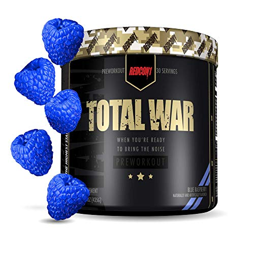 Redcon1 Total War – Pre Workout, 30 Servings, Boost Energy, Increase Endurance and Focus, Beta-Alanine, Caffeine (Blue Raspberry)