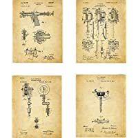Tattooing Patent Wall Art Prints - set of Four (8x10) Unframed - wall art decor for tattoo artists