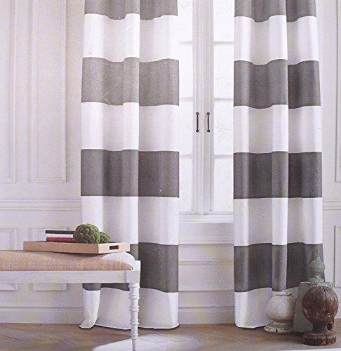 Tommy Hilfiger Extra Long 50 X 96 Inches Set of 2 Cabana Stripes Window Panels Curtains Wide Stripes Gray White Rod Pocket Drapes - Cabana Stripe