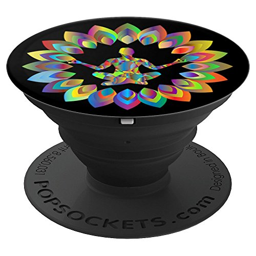 - Colorful Yoga Blossom Pose Mandala Abstract Art Print - PopSockets Grip and Stand for Phones and Tablets
