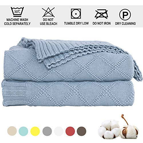 Cable Knit Throw Blanket 100% Cotton - Solid Knitted Throw Blanket Super Soft Handmade Warm Knit Crochet Sweater Texture, for Car Couch Sofa Bed Home Decoration, (51 x 70 Inch / 31oz / Pale Blue)