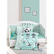 Cute Little Panda Bedding Set - 100% Cotton Nursery Crib Set for Girls, 6 Pieces Baby Comforter/Quilt Set with Crib Bumper, Comforter, Crib Sheet, Pillowcases