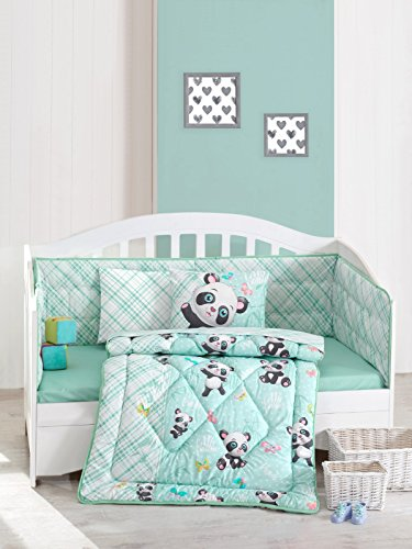 Cute Little Panda Bedding Set - 100% Cotton Nursery Crib Set for Girls, 6 Pieces Baby Comforter/Quilt Set with Crib Bumper, Comforter, Crib Sheet, Pillowcases]()