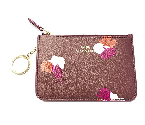 Coach Leather Pouch Chain Burgundy