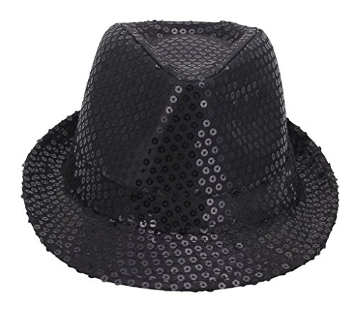 Toyobuy Outdoor Women Paillette Sun Hat Panama Bucket Cap Black